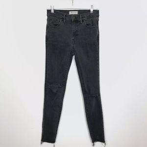 Madewell High Riser Skinny Jeans Frayed Raw Hem